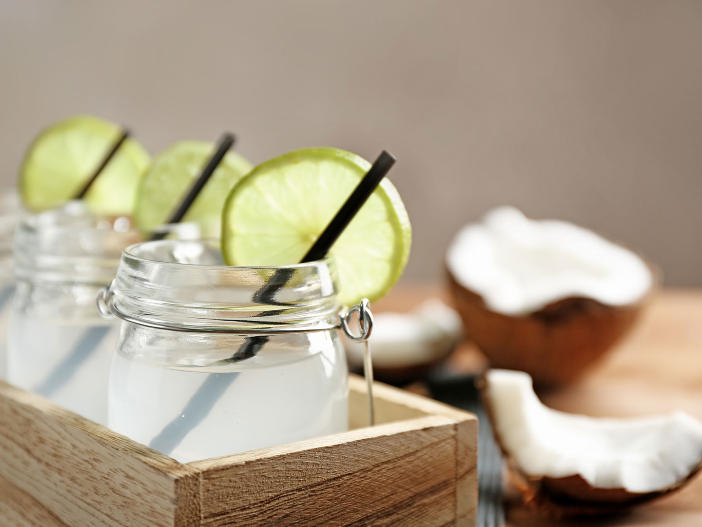 DIY coconut water gin and tonic
